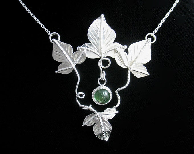 Woodland Leaves Elvish Gemstone Necklace in Sterling Silver, Artisan Necklaces, Gifts For Her, 8mm Gemstone
