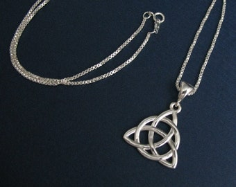 Celtic Knot Necklace in Sterling Silver, Gifts For Her, Charmed Knot Necklace,  Irish Necklaces, Eternity Symbolic Celtic Jewelry