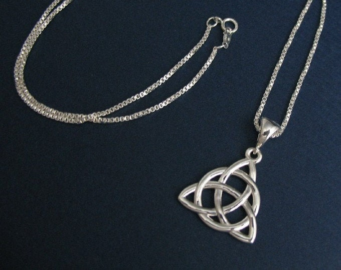 Celtic Necklaces, Charmed Eternity Knot Necklace in Sterling Silver, Irish Necklaces, Symbolic Celtic Jewelry