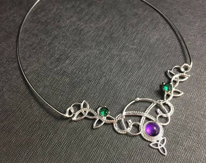 Celtic Knot Neck Ring in Sterling Silver, Artisan Jewelry , Celtic Neck Torc with Gems Necklace, Victorian Chokers, OOAK