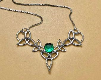 Celtic Knot Emerald, Peridot, Amethyst Necklace in Sterling Silver, Irish Necklaces 16 Inch Sterling Box Chain, Artisan Celtic Knot Necklace