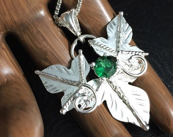 Woodland Leaf Elvish Sterling Silver Necklace, Rustic Leaves Statement Necklace with Lab Emerald, 16 inch Box Chain 925, Bohemian Style