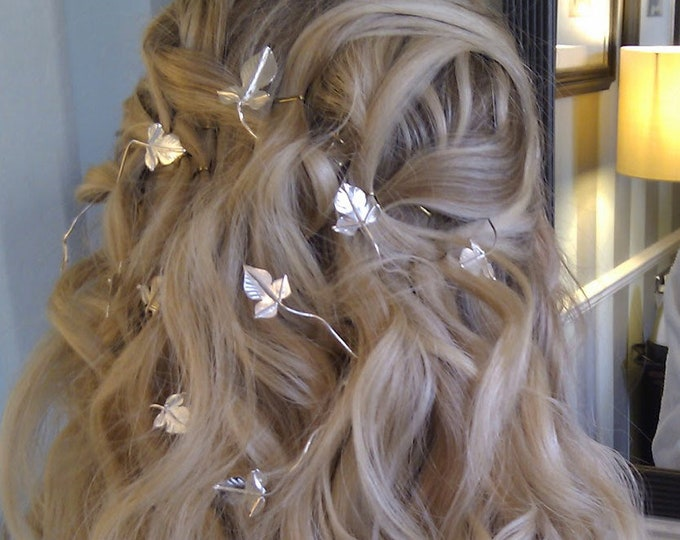 Vine Circlets, Ivy Wedding Hair Vine in Sterling Silver, Woodland Bridal Gemstones Hair Vine Accessories, Leaves Jewelry