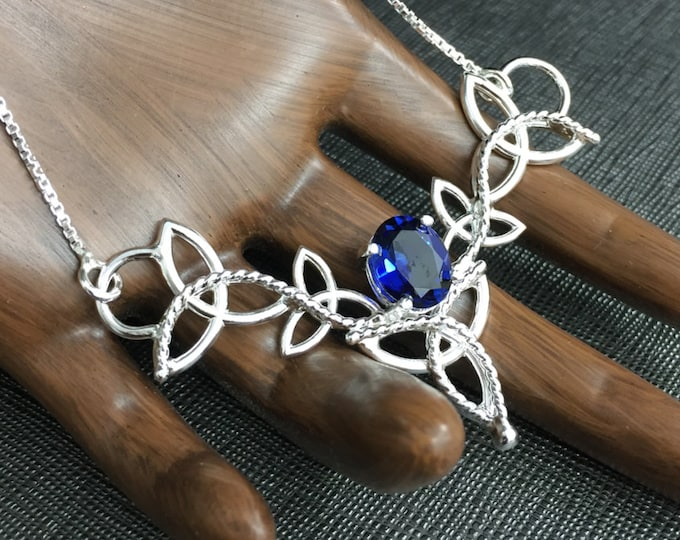 Sapphire Victorian Necklace, Celtic Trinity Knot Necklace, Handmade Sterling Silver Gemstone Necklace, 16 Inch Box Chain Attached
