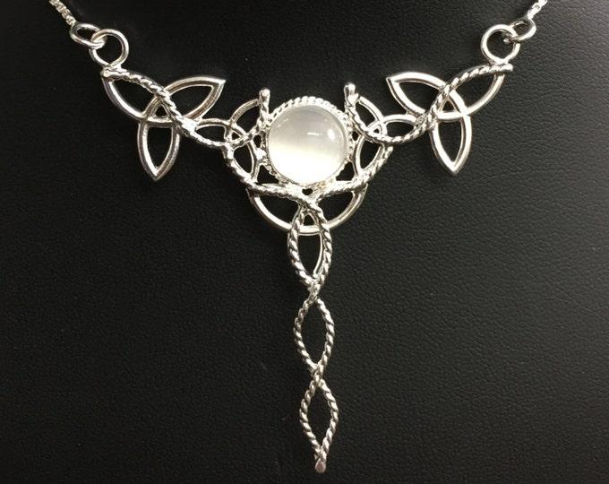 Celtic Trinity Knot Necklace, Irish Trinity Knot Necklace with Moonstone, Bohemian Celtic Necklaces, Wedding Necklace, Statement Necklace