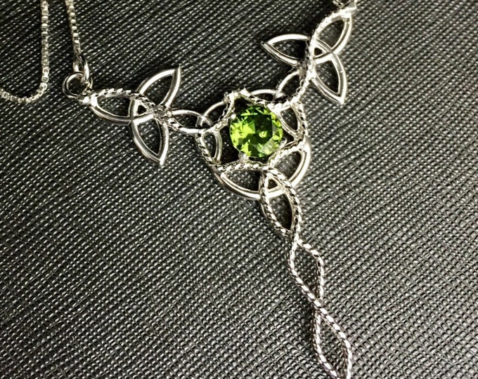 Celtic Knot Emerald Sterling Silver Necklace with Gemstone, Irish Statement Jewelry, Large Celtic Braid Style Pendants, Gifts For Her