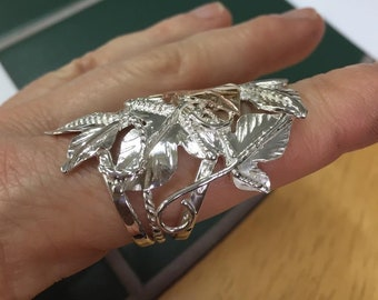 Woodland Leaf Ring in Sterling Silver, Statement Rings, Gifts For Her, Handmade Leaves Ring, Leaf Jewelry, Artisan Jewelry