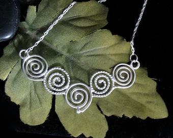Celtic Spiral Necklace Pendant, Sterling Silver Celtic Designs, Handmade Celtic Jewelry, Celtic Spiral Jewelry, Simple Celtic Jewelry