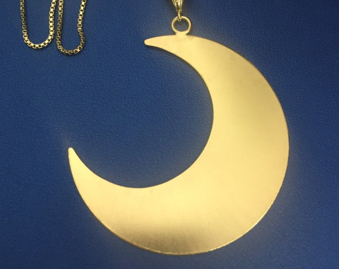 Large Crescent Moon Necklace in Sterling with 24K Gold Plate Overlay, Bohemian Moon Necklaces, Statement 2 Inch Large Waxing Waning Moon
