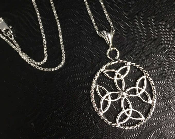 Celtic Trinity Dara Knot 925 Pendant Necklace with 18 Inch Box Chain, Handmade Irish Celtic Knot Necklace, Irish Necklaces,  Irish Pendants