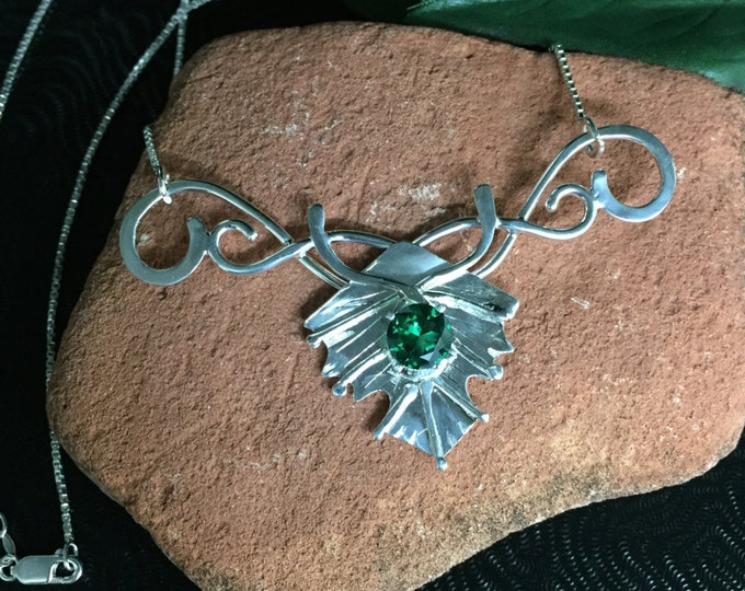 Sterling Silver Bohemian Woodland Leaf Necklace with Lab Emerald, 14 Inch Box Chain 925, Handmade Renaissance Rustic Leaves Necklace