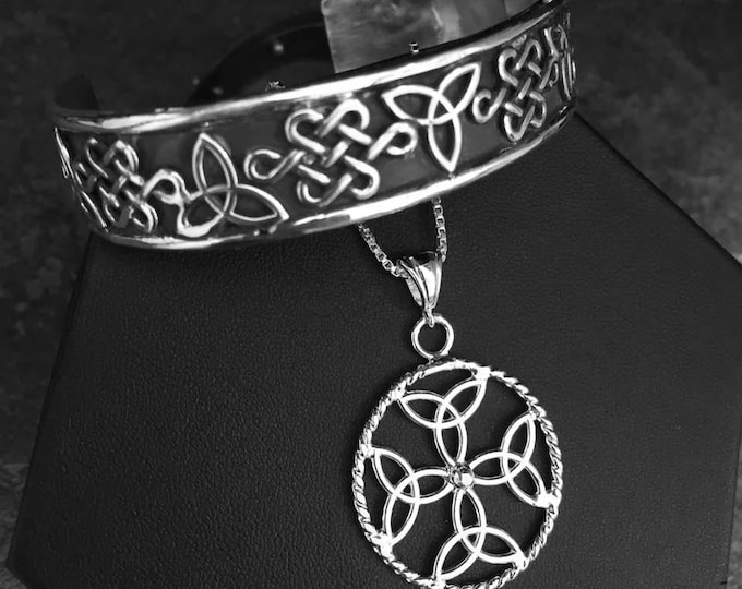 Celtic Bracelet Cuff and Dara Symbol Necklace with 18 Inch Box Chain, Handmade Irish Celtic Knot Necklace, Irish Necklaces,  Irish Pendants