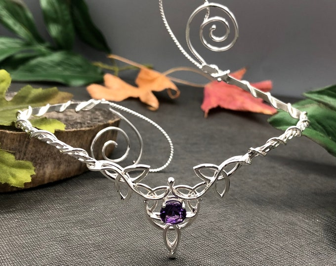 Upper Arm Bracelet Amethyst Sterling Silver, Celtic Arm scuff Jewelry with Gemstone, Handmade Artisan Arm Bracelets, Gifts For Her