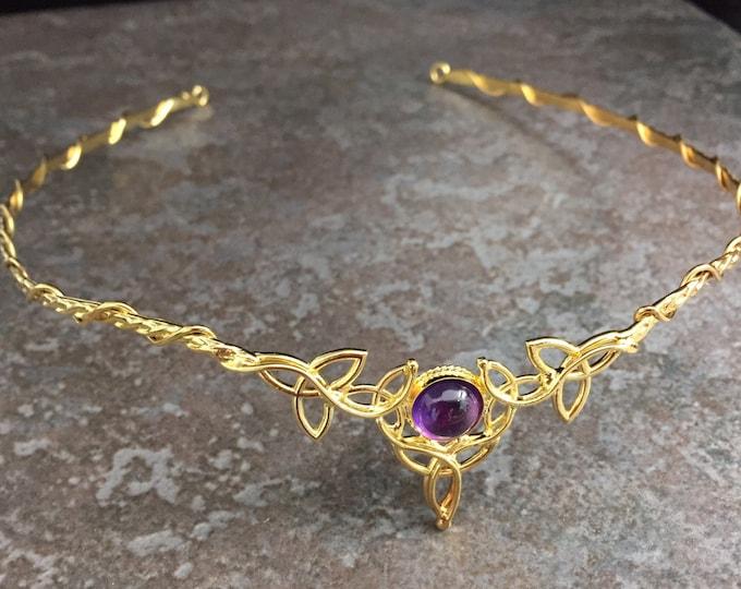 Elvish Irish Wedding Circlet 10mm Amethyst with 24K Gold Plating Celtic Knot Diadem Tiara Sterling Silver 24K Gold Plating OOAK Irish Tiara