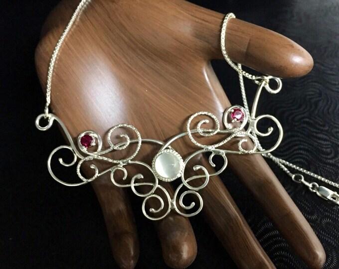 Bohemian Romantic Elvish Renaissance Necklace, Boho OOAK necklace, Art Nouveau Scroll Necklaces, Wedding Jewelry Necklace, Bridal Necklace