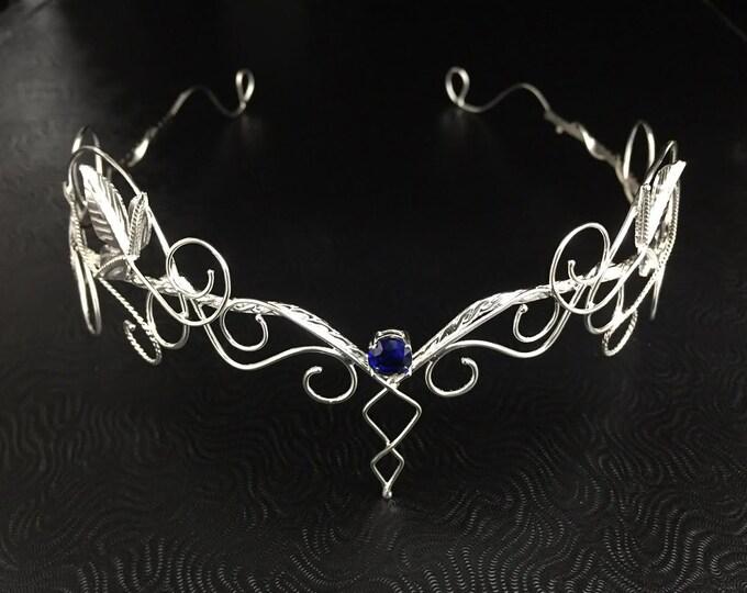 Fae Woodland Gemstone Circlet, Leaf Elvish Tiara 925, Sterling Silver Woodland Circlet, Elvish Bohemian Fantasy Wedding Tiara, OOAK Circlet