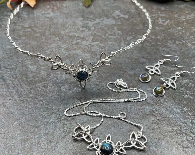 Celtic Trinity Knot Bridal Jewelry Set, Moonstone Celtic Knot Tiara, Necklace with Cab Gemstones, Handmade Sterling Silver Jewelry