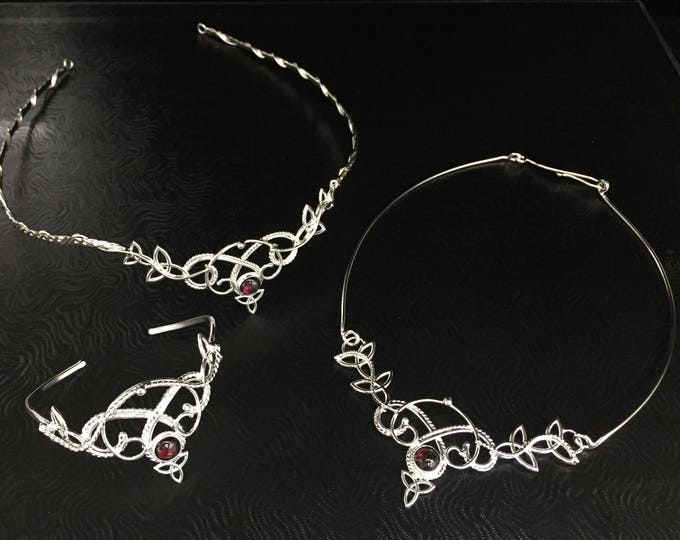 Celtic Faery Moonstone Bracelet, Neck Ring and Tiara Set in Sterling Silver, Artisan Alternative Bridal, Gifts For Her