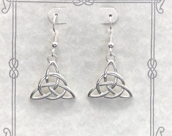 Cute Irish Trinity Knot Earrings in Sterling Silver, Celtic Earrings, Celtic Knot Earrings, Renaissance Earrings, Trinity Knot Jewelry