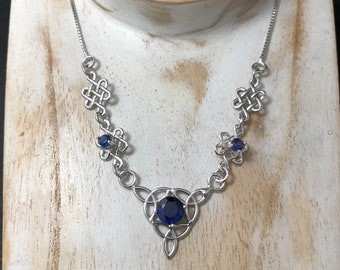 Celtic Gemstone Necklace in Sterling Silver, Bohemian Irish Necklace with 3 Gemstones, Sapphire, Sterling Silver Handmade OOAK