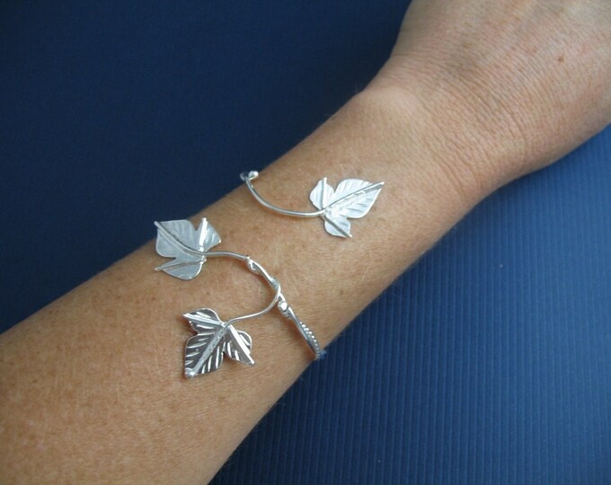 Ivy Leaf Wrap Bracelet Cuff Handmade in Sterling Silver, Artisan Fae Woodland Leaves Simple Cuff Bracelet, Elvish Style Bracelet Wrap