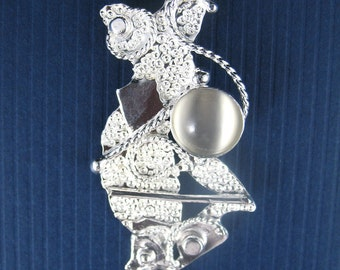 Abstract Art Nouveau Sterling Silver Pendant with Genuine 10mm Moonstone with 18 Inch Sterling Silver Box Chain