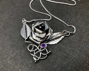 Rose Necklaces, Floral Rose Gemstone Statement Necklace, Handcrafted OOAK Rose Jewelry, Rose Petals, Rose Necklaces, Sterling Silver Roses