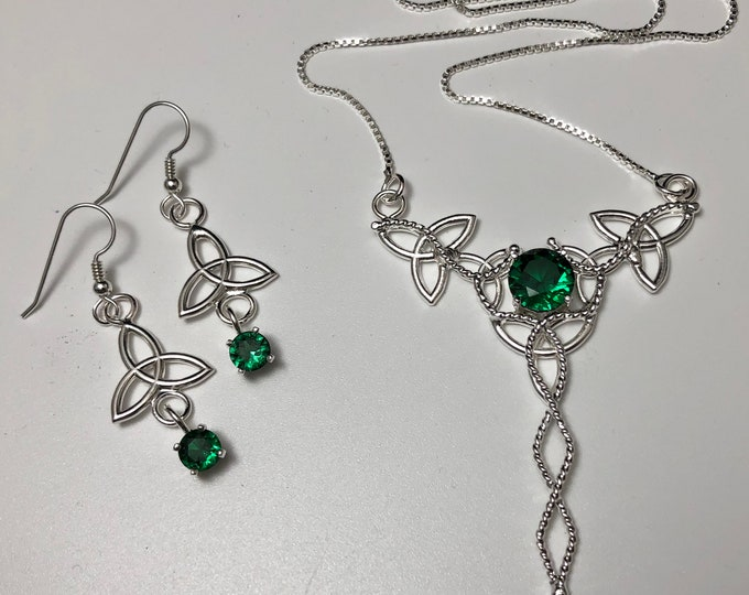 Celtic Trinity Knot Necklace Earrings Emerald Set in Sterling Silver, Irish Bridal Accessories, Emerald Necklace and Earrings Jewelry Sets
