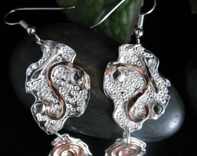 Sterling Silver & Copper Art Deco Style FreeForm Earrings, Brutalist Earrings, Abstract Copper and Silver Hammered Earrings, Dangle Earring