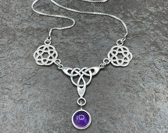 Celtic Knot Moonstone Amethyst Friendship Necklace Sterling Silver, Box Chain, Celtic Knot Necklace with 8mm Gemstone, Handmade 925, OOAK