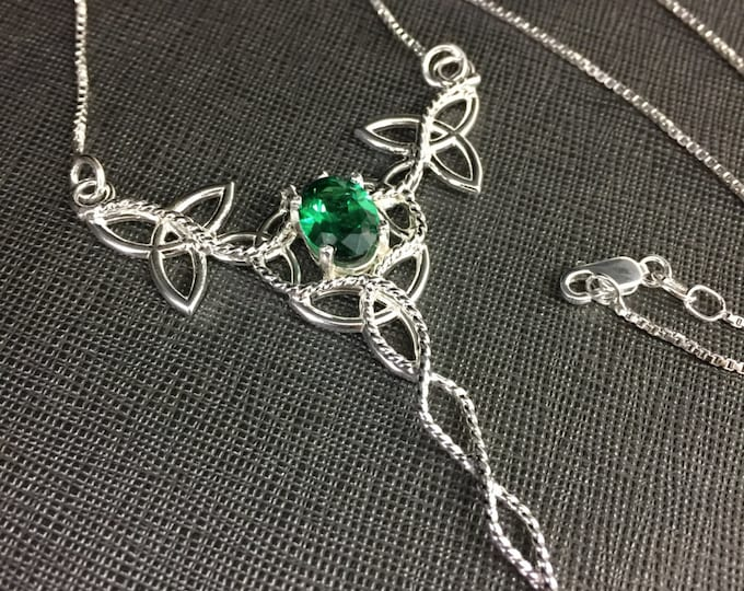 Irish Celtic Trinity Knot Gemstone Necklaces, Irish Wedding Jewelry, Handmade Celtic Necklace, Sterling Silver Gemstone Wirework, Box Chain