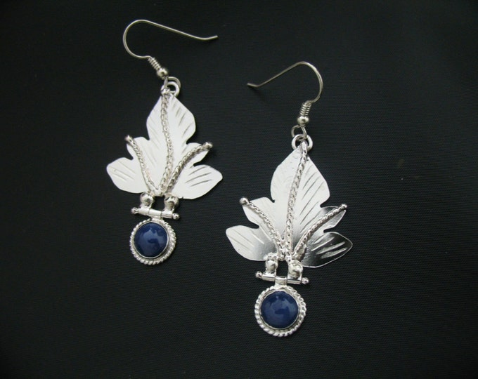 Sterling Silver Sapphire Leaf Earrings, Artisan Movable Dangle Leaf Earrings, Gifts For Her, Alternative Bridal, Woodland Jewelry