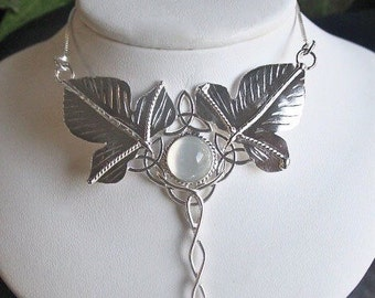 Woodland Fae Necklaces, Moonstone Leaf Necklaces, Handmade OOAK Fairy Necklace, Bohemian Statement Necklaces in Sterling Silver