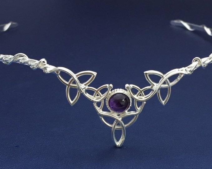 Celtic Knot Irish Sterling Silver Tiara, Gemstone Wedding Circlet, Alternative Wedding, Bridal Accessories
