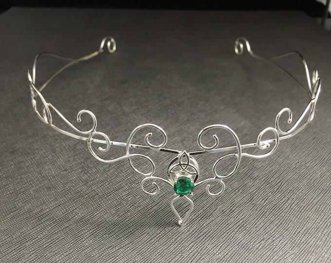 Elvish Gemstone Tiara in Sterling Silver, Victorian Bridal Circlet, Princess Fantasy Tiara, Bohemian Wedding, Hair Jewelry, Magical Weddings