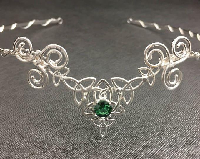 Celtic Gemstone Tiara, Irish Trinity Knot Circlet, Sterling Silver Irish Wedding Circlet, Scottish Bridal Circlet, Wedding Headpiece