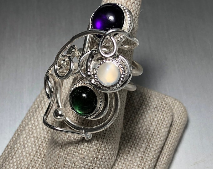 Bohemian Sterling Silver Artisan Amethyst Ring, Statement Moonstone Rings, Abstract Swirl Finger Jewelry