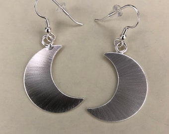 Sterling Crescent Moon Earrings, Crescent Moon Sterling Silver Earrings, Stevie Nicks Crescent Moons, Celestial Moon Dangle Earrings