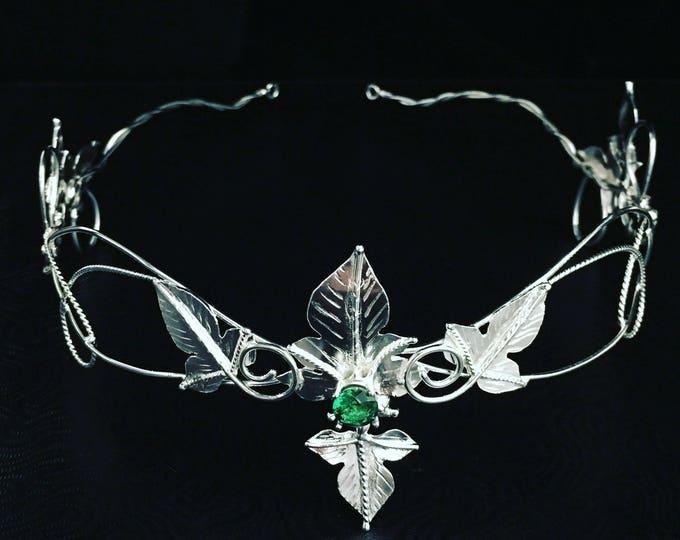 Woodland Moonstone Emerald Sapphire Tiara in Sterling Silver, Artisan Handmade Crown Circlet