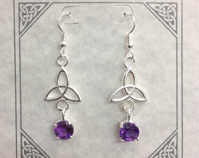 Amethyst Trinity Knot Dangle Drop Earrings, Celtic Charmed Irish 925 Earrings, Silver 925 Amethyst Wedding Earrings, Boho Hipster Earrings