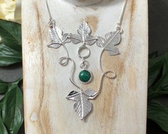 Woodland Leaves Gemstone Sterling Silver Necklace, OOAK Handmade Statement Necklace, 14 inch Box Chain Attached, Bohemian Style