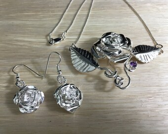 Rose Succulent Necklace and Earrings in Sterling Silver, Artisan Rose Jewelry, Handmade Rose Earrings, Floral Jewelry, Gifts For Her