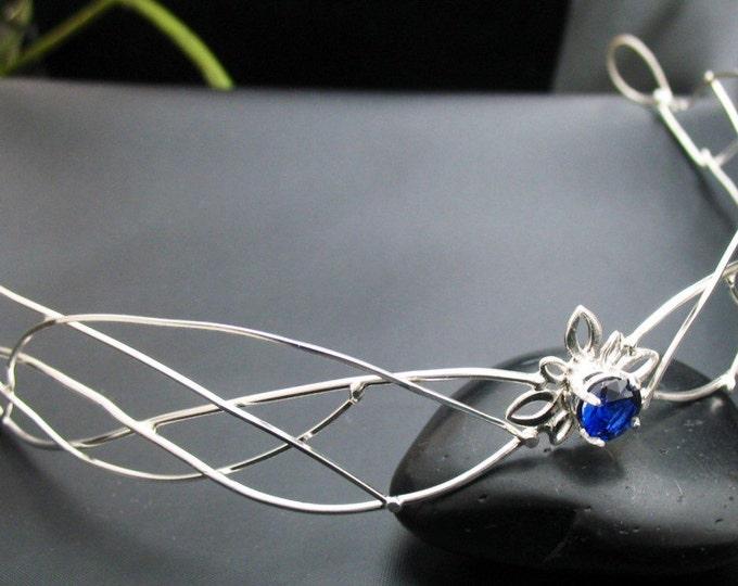 Princess Wedding Bridal Circlet Sterling Silver Faery Circlet, Sterling Wire Work Bridal Tiara, Handmade Wedding Headpiece, Faceted Gemstone