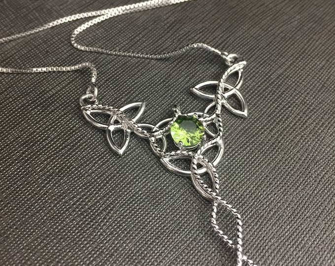 Irish Trinity Knot Peridot Necklace in Sterling Silver, Elvish-Inspired Necklaces, Renaissance Jewelry, Artisan Made, Gifts For Her