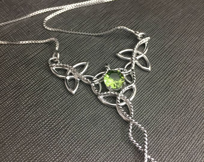 Irish Trinity Knot Gemstone Necklace in Sterling Silver, Elvish-Inspired Necklaces, Renaissance Jewelry, Artisan Made, Gifts For Her