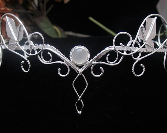 Woodland Elvish Wedding Sapphire Moonstone Amethyst Tiara in Sterling Silver, Artisan Fantasy Bridal Diadems, Alternative Bridal Circlets