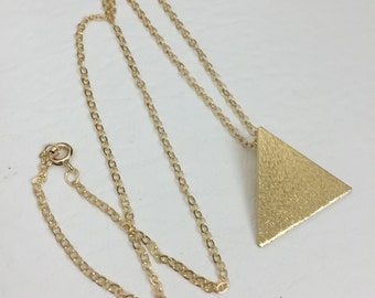 Stevie Nicks Style Triangle Necklace, 925 Sterling Silver Pyramid Necklace, Gold Plated, Geometric Necklaces, Solid 20 gauge, 24K Plate