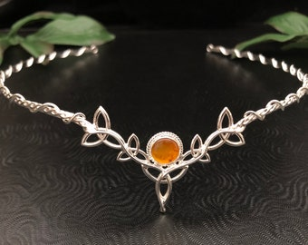 Celtic Wedding Circlet with Natural Amber in Sterling Silver, Wedding Gemstone Tiara, Celtic Diadem, Handmade Celtic Knot Cosplay Headpiece