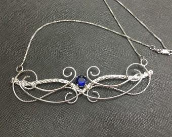 Victorian Elvish Sterling Silver Sapphire Choker Necklace, Handmade Artisan Necklace, Renaissance Bohemian Jewelry