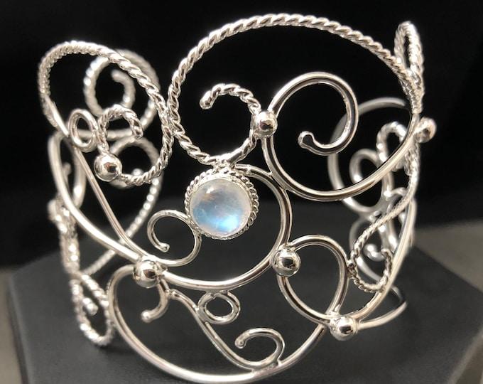 Bohemian Bracelet Cuff in Sterling Silver,  Elvish Artisan Scrolling Wire Bracelet, Renaissance Arm Jewelry